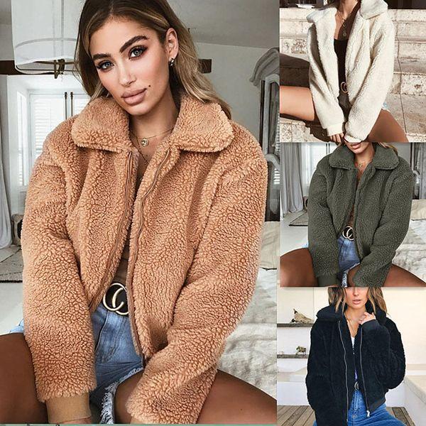 4 colour s-xl women's winter warm teddy bear pocket fluffy coat fleece fur jackets outerwear hoodie