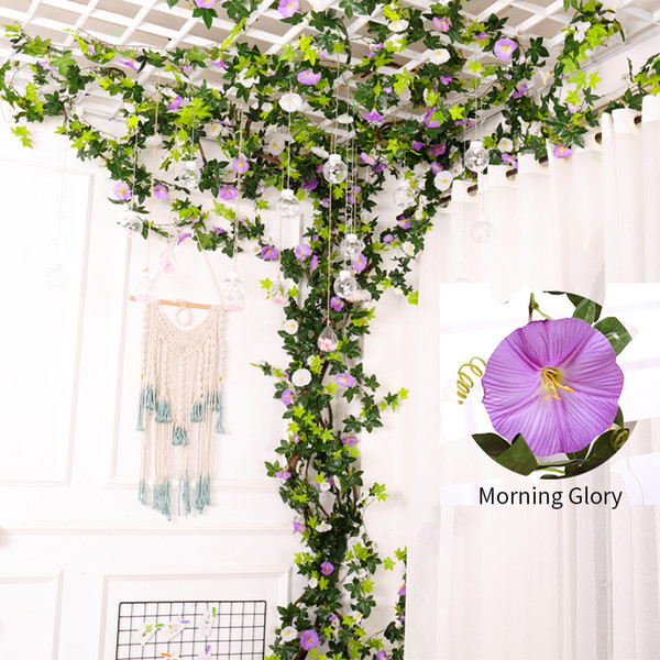 Real touch Artificial Rose Flower Fake wall Hanging Morning glory Vine Plant with Leaves Artificial Garland Flower Wedding string Wall Decor