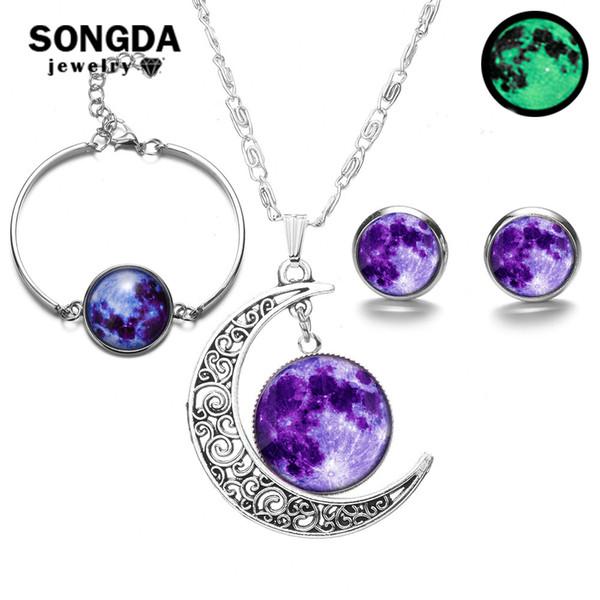 SONGDA Glowing in the Dark Galaxy Moon Pendant Jewelry Sets Glass Cabochon Luminous Necklace Bracelet Earrings Fashion Jewelry