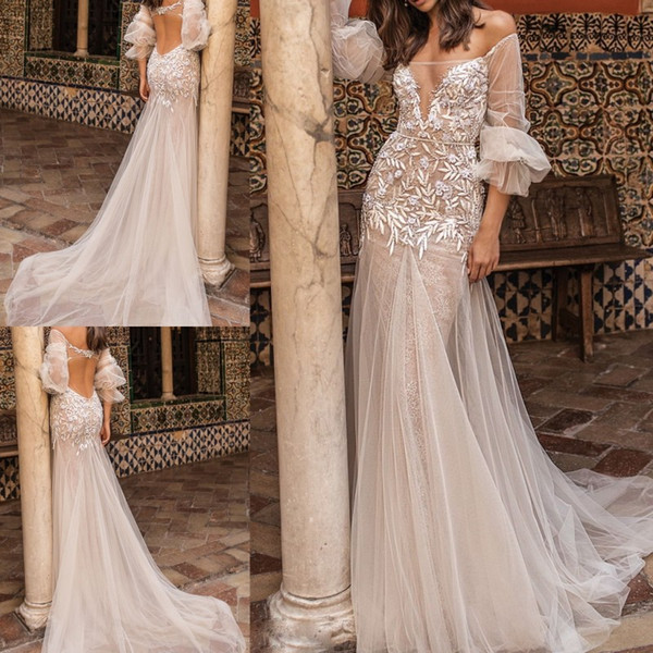 Berta Fall 2018 Plus Size Wedding Dresses Beaded Sexy Hollow Back Vestido De Novia Lace Wedding Gowns With Sleeves