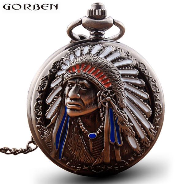 Retro Indio Gente Cobre Cuarzo Reloj de Bolsillo Antiguo Collar Hueco de Metal Vintage Reloj Flip Cadena Colgante Mujeres Hombres regalo