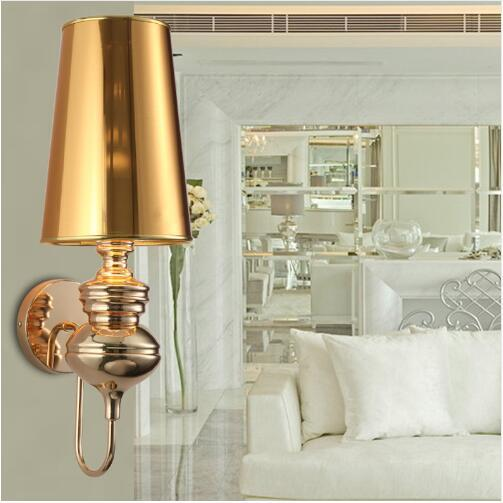 modern gold wall Sconce with lampshade bedroom indoor wall lamps E27 European simple lantern elegant bedside wall lights