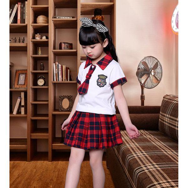 Boys Plaid School Uniform with Tie Kids Pretty Style Shirt and Skirt/Pants Set Girls/Boys Summer Chorus Costume