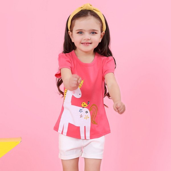 2018 new baby girls summer outfits unicorn Red T-shirt and white trousers for girl kids fashion clothes set children suit