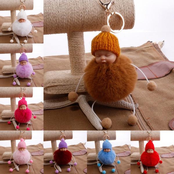 22 Stili Cute Sleeping Baby Doll Portachiavi Pompom Palla di Pelliccia di Coniglio Portachiavi Auto Portachiavi Donne Portachiavi Borsa Pendente Accessori di Fascino G247Q