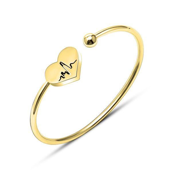 LASPERAL Lovers Gold Color Cuff Bracelet Stainless Steel Open Bangle Punk Heart Bracelets & Bangles Women Pulseira Feminina