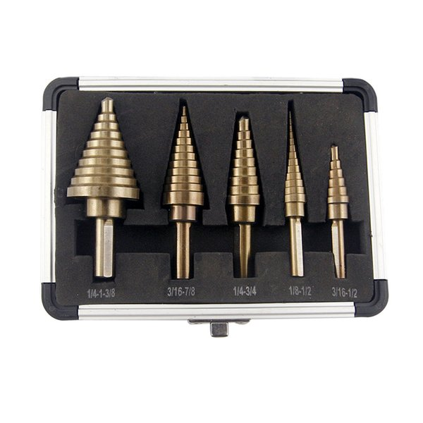 5pcs Hss Cobalt Multiple Hole 50 Sizes Step Drill Bit Set with Aluminum Case