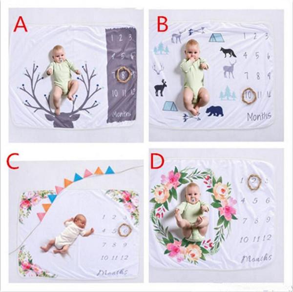 Xmas 76 * 102 cm neonato fotografia di scena puntelli bambino foto prop fleece floreale cervo stampato fondali infantili coperte swaddle avvolge morbido B