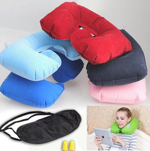Travel Set 3PCS U-Shaped Inflatable Travel Pillow Eye Cover Earplugs Neck Rest U Shaped Neck Pillow Air Cushion TC180801