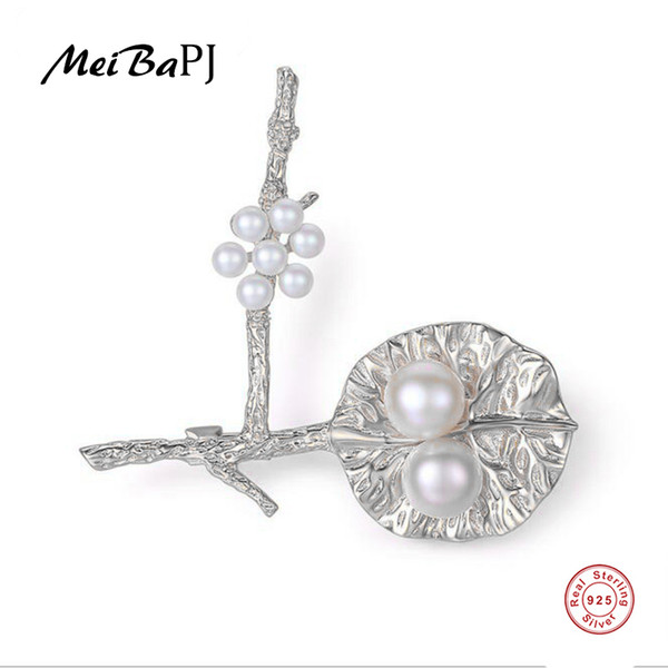 [MeibaPJ]Real Natural Pearl Flower Brooch S925 Solid Silver Breastpin Fine Jewelry For women