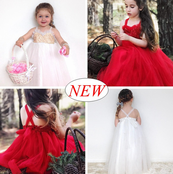 INS Summer Girls sequin Party Dresses baby girls Beach dress Sundress Ruffles Cotton Red White tutu slip dresses Cheap wholesale