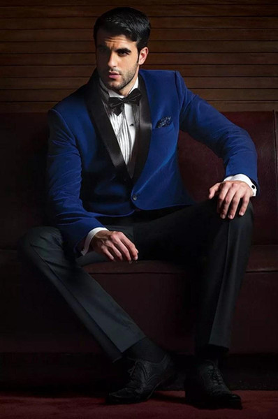 Classic Slim Fit Royal Blue Wedding Tuxedos Custom Made Groomsmen Suit Two Pieces Peaked Lapel Formal Prom Party Suits(Jacket+Pants+Tie)