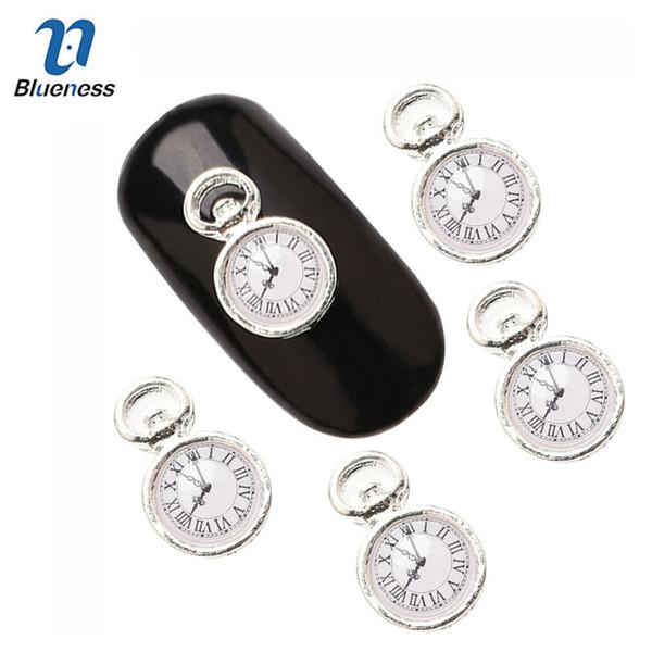 Blueness 10Pcs / lot 3D Borchie per utensili in metallo Design per orologio in argento Strass in lega di Halloween per unghie Decorazioni per le donne