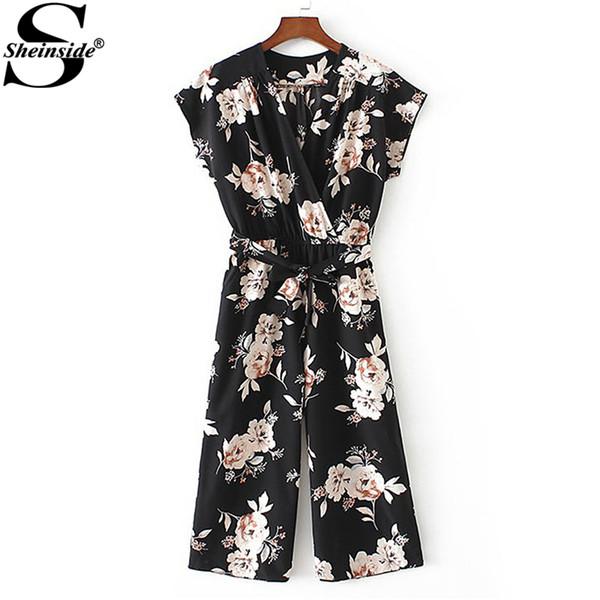 Sheinside Casual V-Neck Floral Print Jumpsuit 2018 Spring Belt Wrap Loose Jumpsuit Women Short Sleeve Work OL