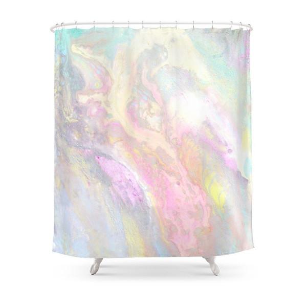 Pastel Iridescente Cortina de Chuveiro Tecido de Poliéster Casa de Banho Decoração de Casa À Prova D 'Água Impressão Cortinas de Chuveiro com Ganchos