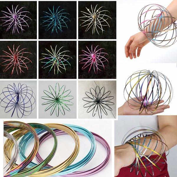 Colorido Anillo de Flujo Spinner Inoxidable Toroflux Brazo Juguete de Metal Anillos de Flujo Cinética Interactiva Brazalete de Primavera Ciencia Herramienta Educativa AAA75