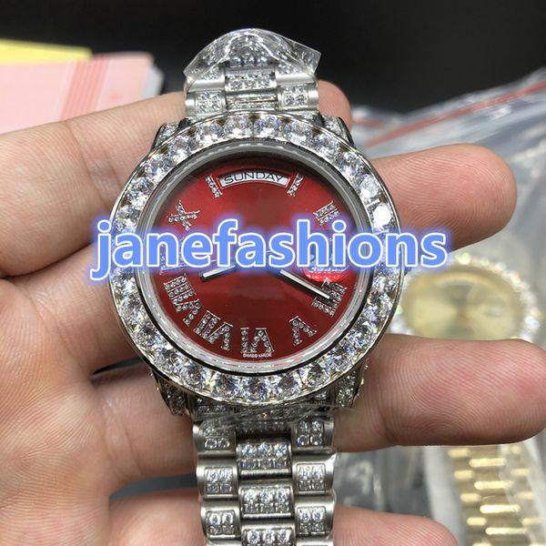 Reloj de los hombres de acero inoxidable de alta calidad con diamantes de plata Relojes de moda de alta calidad con diamantes de lujo para hombres Relojes mecánicos automáticos completos