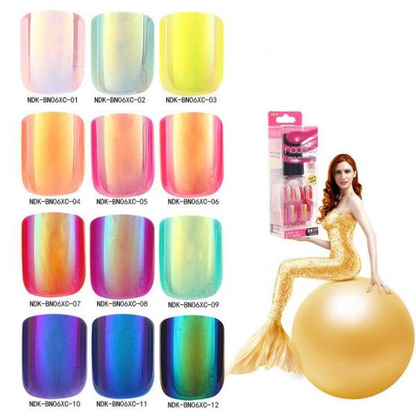 12 couleurs 24 Pcs Faux Ongles Conseils Charme Faux Nail Laser changeant de couleur Acrylic Gel Gel Conseils Ongles artificiels de longueur courte