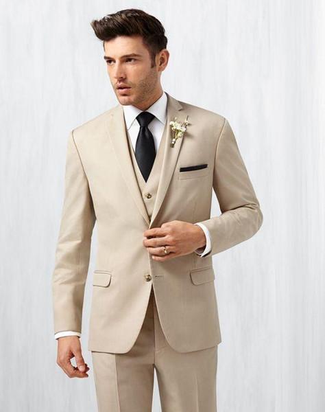 Cheap Custom Made Beige Groom Tuxedos Notch Lapel Groomsmen Best Man Business Suits Slim FFit Mens Wedding Suits (Jacket+Pants+Vest+Tie)