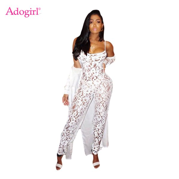 12bc7ab222c Adogirl 2018 Summer White Lace Jumpsuits for Women Sexy See Through Spaghetti  Straps Full Length Rompers Night Club Overalls