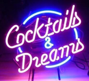 New COCKTAILS AND DREAMS Glass Neon Sign light Beer Bar Sign Send need photo 19x15""