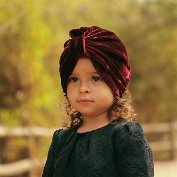 Sombrero lindo del bebé del terciopelo de algodón suave turbante de la muchacha del verano Sombrero estilo bohemio recién nacido de la India Cap para niñas D0950