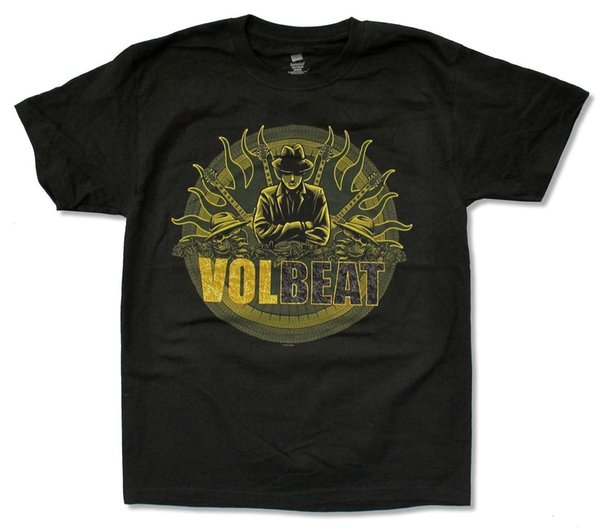 """VOLBEAT """"GANGSTER FLAMES"""" BLACK T-SHIRT NEW OFFICIAL ADULT BEYOND HELL ALBUM Men T Shirt Great Quality Funny Man Cotton"""