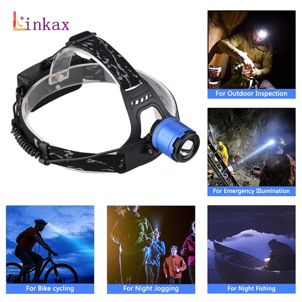 3 Modes Headlamp Zoom 18650 Battery XM-L T6  Forehead Headlamp Rechargeable LED Headlight for Camping Hunting Light
