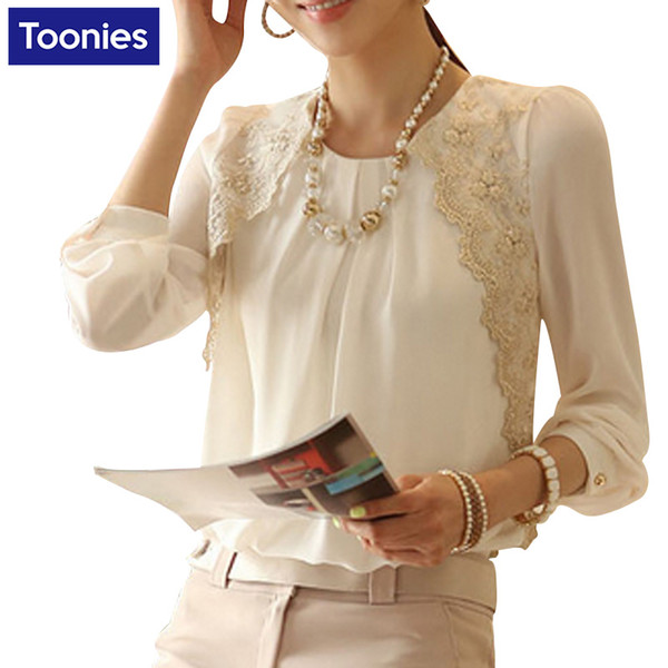 top popular Mujer Women Tops Shirt Long Sleeved Chiffon Blouse Women Lace Patchwork Casual Women Shirts 2021