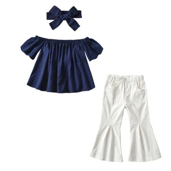 Yeni Moda INS yaz kızlar moda giyim setleri çocuk straplez parlama kol tops + beyaz mermaid pantolon 2 adet suit çocuk giyim