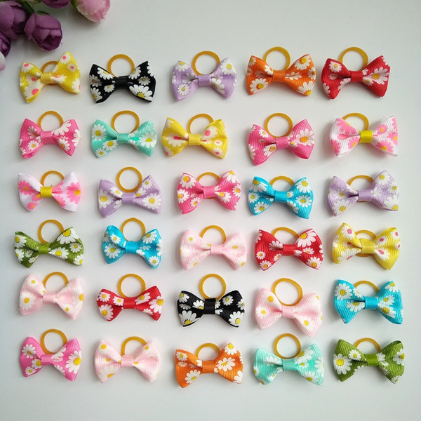 100pcs/lot 1.4inch Pet Dog Bows Dog Hair Grooming Accessories Rubber Bands Cat Hair Bows Pet Hand made Cut Pet Supplies