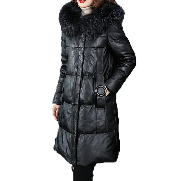 Leather Down Coat Women 2018 Winter New Mid-length Hooded Warm Real Raccoon Fur Collar white duck down Leather Jacket Female 67