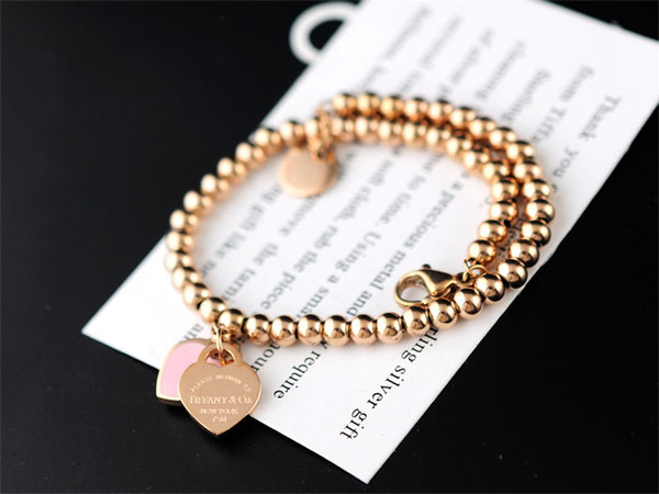 High Quality Celebrity design Silverware beads bracelet Women Letter Heart-shaped Fashion metal Chain Bracelets Jewelry With dust bag Box