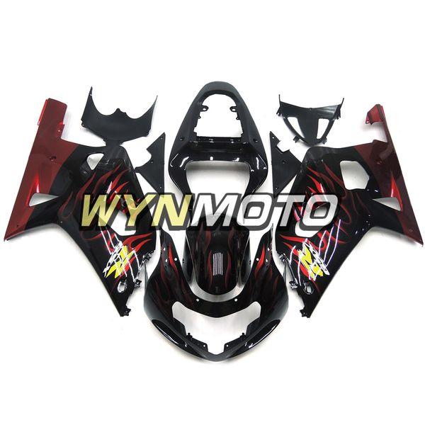 Обтекатели для Suzuki GSXR600-750 K1 год 2000-2003 полный обтекатель комплект новый капот мотоцикл корпуса черный красный пламя