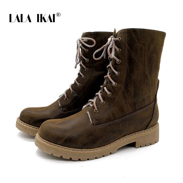 LALA IKAI Women Lace-Up Turned-over Mixed Colors Retro Winter Boots Round Toe Mid-Calf Sewing Platform Ladies Boots 040A2937 -49