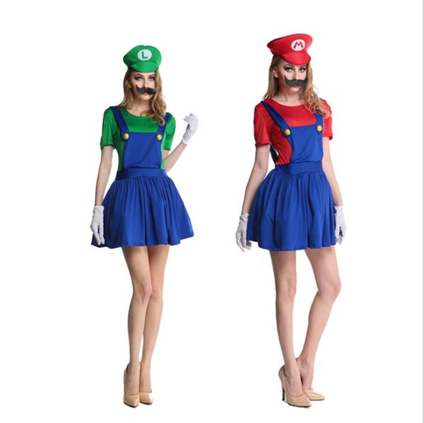 donne adulte super Mario costume sexy Mario Luigi gonna idraulico mario bros Fancy Dress Up Costume Party 3 PZ 1 SET vestito + cappello + barba KKA5690