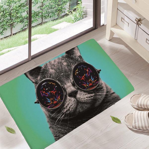 Teppiche Innen Veranda Tier Küche Boden / Tür Matten Schöne Malerei Drucken Hund Katze Drucken Teppiche Home Schlafzimmer Halle Teppich dd17