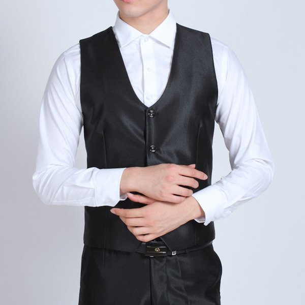 Custom Made Mens Fashion Party Prom Shiny Black Waistcoat Gentleman Wedding Vest Men Business Formal Suit Vests