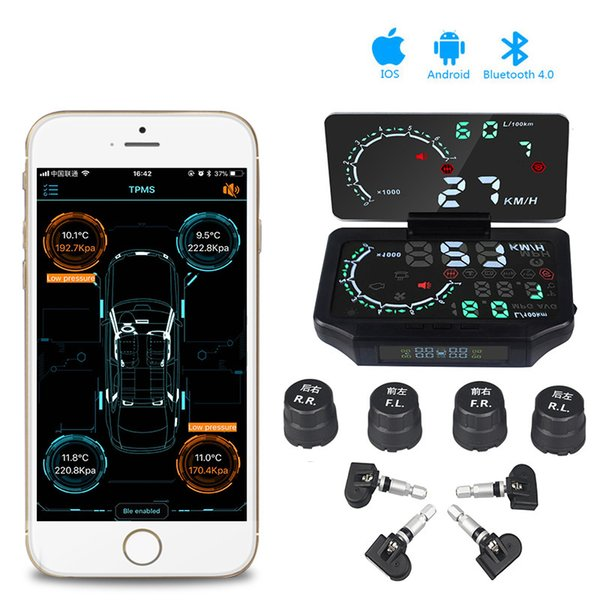 Bluetooth 4.0 mit Android iOS BLE TPMS 4 Interner / externer Sensor Reifendruckkontrollsystem Low Energy hud Auto-Display