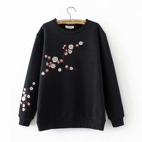 Plus size With velvet floral Embroidered hoodies women sweatshirt 2018 Autumn winter cotton dark blue & black ladies pullove 4XL
