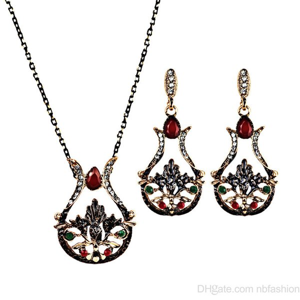 Wish New Pattern Heat A Pin Restore Ancient Ways Vase Lotus Necklace Earrings Twinset Alloy Set Jewel Series