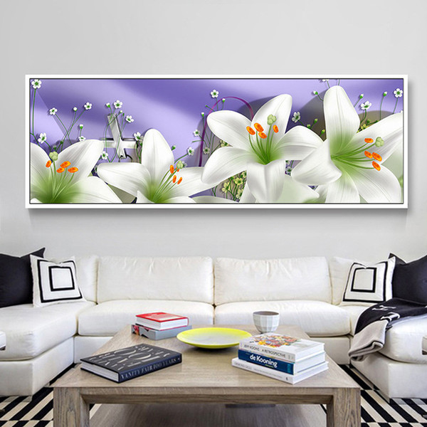 Diamonds Picture New Pattern Lily Point Drill Cross Embroidery A Living Room Bedside Picture Magic Cube Round Drill Point The Have