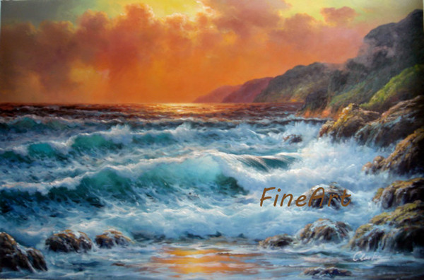 hand-painted wall art ocean wave seascape oil painting wall hanging unique gift Kungfu Art