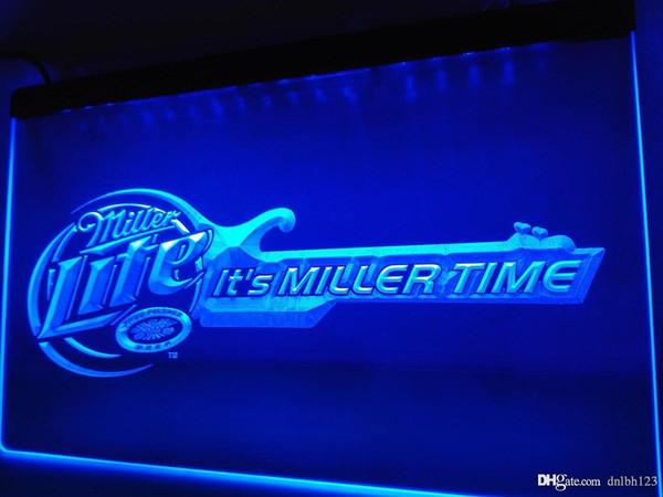 LE017b- Miller Lite Beer Bar Guitar LED Neon Light Sign