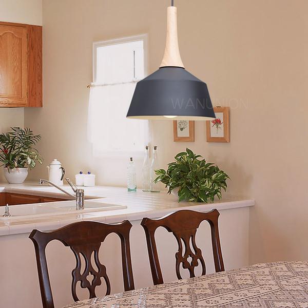 Compre Nordic Lámparas Colgantes Madera Aluminio Pantalla Iluminación  Industrial Loft Lamparas Comedor Lámpara Colgante E27 Lámparas A $49.42 Del  ...
