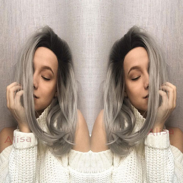 Short Lace front wig ombre wigs bob synthetic Silver gray hair glueless synthetic lace front wig Black/grey for women free shipping