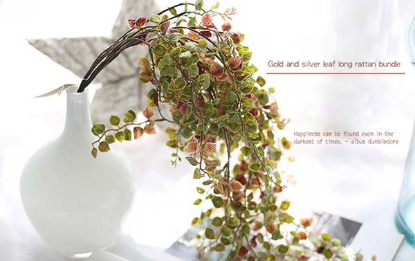 60cm Gold Silver Silk Artificial Leaves Vine For Party Wedding Decoration Foliage Handmade Artificial Tree Leaves