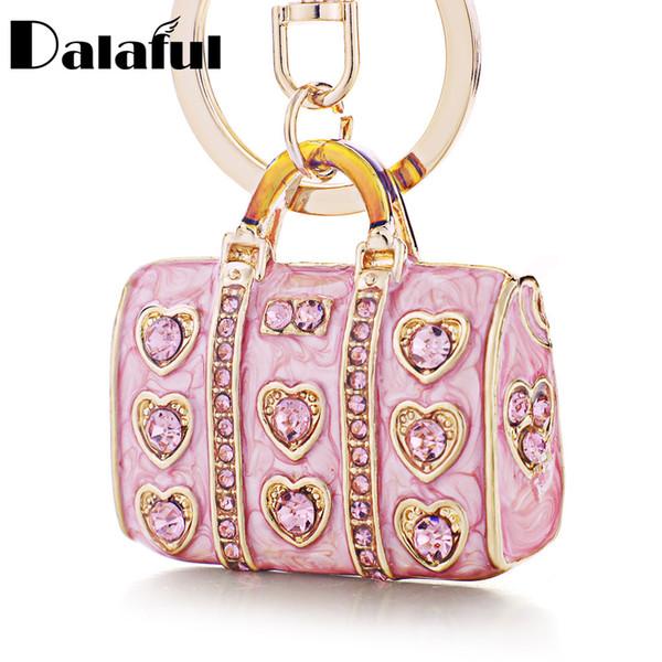 Dalaful Enamel Crystal Heart HandBag Keychains Stylish Purse Bag Buckle Pendant For Car Keyrings key chains holder women K234