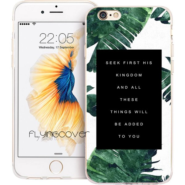 Bible Jesus Christ Quotes Leaf Clear Soft TPU Silicone Fundas Cases for iPhone 10 X 7 8 Plus 5S 5 SE 6 6S Plus 5C 4S 4 iPod Touch 6 5 Cover.