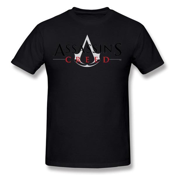 2017 Men's 100% Cotton Assassins Creed Logo Tee-Shirts Men's Round Neck White Short Sleeved Clothing Big Size Normal Tee-Shirts